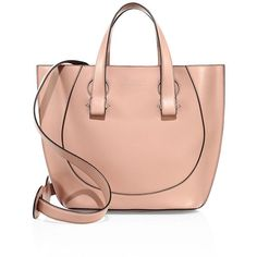 Victoria Beckham Women's Tulip Small Leather Tote - Dark Nude (82.250 RUB) ❤ liked on Polyvore featuring bags, handbags, tote bags, apparel & accessories, dark nude, red leather tote, red purse, red handbags, leather tote purse and leather handbag tote