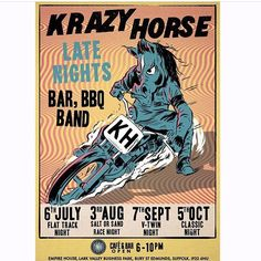 @krazyhorse5 is hosting a flat track night that we and the @dirttrackriders will be at the Thursday before #dirtquake. Band, bikes, drinks, 1000s of people. Come along & hang out. 🎨 @ryanroadkill  via ✨ @padgram ✨(http://dl.padgram.com)