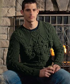 Ravelry: Sorcery Sweater pattern by Catherine Salter Bayar  Look for the book Knitting Wizardry on display, just ask.