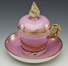 KPM porcelain covered cup and saucer