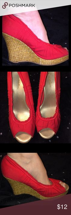 "Carlotte Russe Red Wedge Open Toe Shoe Carlotte Russe Red Wedge Open Toe Shoe. Size 7, Heel Height 4 1/2"". Condition: worn once no visible damage The shoes where to big for me they feel like a 7 1/2 W fit  Size is not visible on shoe Charlotte Russe Shoes Wedges"
