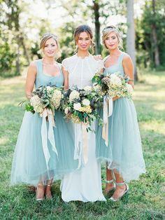 Pretty blue chiffon bridesmaid dresses: http://www.stylemepretty.com/little-black-book-blog/2016/01/13/modern-woodland-wedding-inspiration/   Photography: Krista A. Jones - http://kristaajones.com/