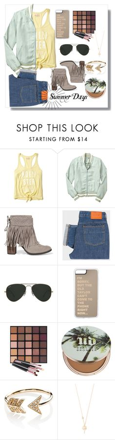 """I miss Summer"" by ktree57 ❤ liked on Polyvore featuring Hollister Co., Gap, Schutz, PS Paul Smith, Ray-Ban, Urban Decay, EF Collection and Shashi"