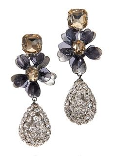 The Tory Burch Square Stone Diamanté tear drop earring: A vintage-inspired, feminine accent that can be worn day or evening
