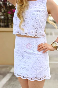 Lilly Pulitzer Lace Lux Cropped Top & Tate Eyelet Skirt styled by @devonalana7