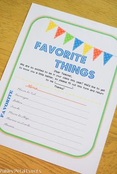 Teacher's Favorite Things printable questionnaire - have them fill it out now and be ready for Christmas & Teacher Appreciation week.