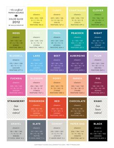 closest RGB, CMYK, HTML, and Pantones to Paper Source / Waste Not Paper's 2012 line-up