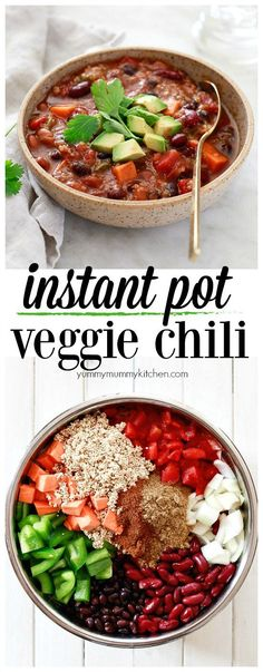 This instant pot vegetarian chili is filled with quinoa, sweet potato, and beans. It's so easy to make in the Instant Pot pressure cooker or slow cooker and naturally vegan, vegetarian, and gluten-free. Chili is a delicious and easy vegetarian and vegan dinner idea.