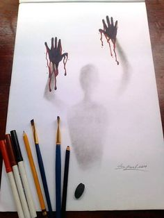 Shared by SuzyQ ♕. Find images and videos about beauty, art and drawing on We Heart It - the app to get lost in what you love. Creepy Drawings, Dark Art Drawings, Pencil Art Drawings, Art Drawings Sketches Simple, Pencil Drawing Tutorials, Halloween Drawings, Sketch Art, Art Tutorials, Horror Drawing