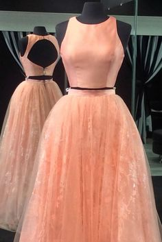 Light orange tulle two pieces satins round neck backless A-line long dress for teens