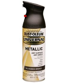 Oil Rubbed Bronze Spray Paint!  (by Rustoleum American Accents Metallic; also available in Hammered Bronze)    I'm totally going to give this a try on some outdated light fixtures and switch plate and outlet covers :D