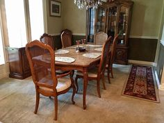 Haverty's Country French Dining Room 10pc Set w Crosshatch Table Top #Havertys