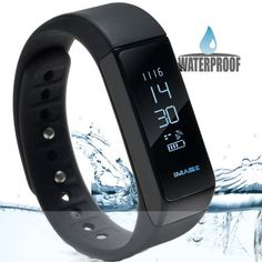 Image Waterproof Bluetooth Fitness Tracker Bracelet Smart Wrist Watch Band for iphone Android w/ Touch Screen, Black