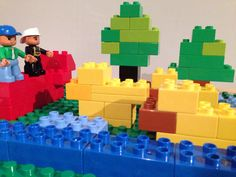 Three ducks in a pond. Photo by Little Kun. Lego Duplo, Ducks, Pond, Lego Duplo Table, Water Pond