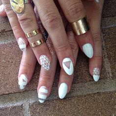 white + negative space nail art design