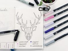 """Gefällt 145 Mal, 4 Kommentare - My Lettering & Bujo Journey (@eza666) auf Instagram: """"Sticking to my mountain theme, I went with the Elk for my mood tracker this month. Hope it turns…"""""""