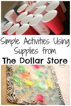 Fun Kids' Activities Using Dollar Store Supplies. Fun Activities For Kids, Indoor Activities, Preschool Activities, Kindergarten Crafts, Kids Fun, Toddler Play, Toddler Crafts, Crafts For Kids, Baby Play