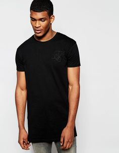 Super seje SikSilk Longline T-Shirt With Curved Hem And Pleated Back Detail - Black SikSilk Plain til Herrer til hverdag og fest
