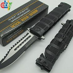 TAC FORCE Black Spring Assisted Open SAWBACK BOWIE Tactical Rescue Pocket Knife #TACFORCE