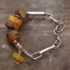 raw amber  bracelet  linen  natural amber  sterling by ewalompe, zł800.00