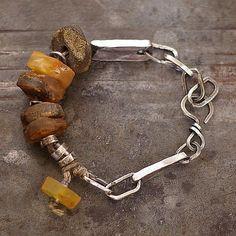 raw amber  bracelet  linen  natural amber  sterling