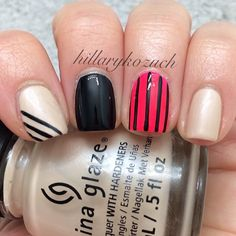 Beige, nude, stripes nails. Nail art. Nail design. polishes. Instagram by hillarykozuch