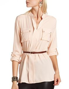 Belted Crepe Pullover Blouse: Charlotte Russe