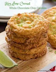 These island inspired Key Lime Coconut White Chocolate Chip Cookies are to…
