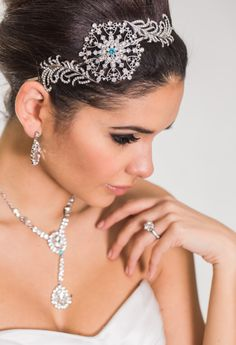 """Cynthia side accent headband and Aimee necklace and earring set.  Stunning accessories that have the option of a subtle """"something blue""""."""