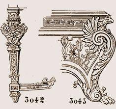 la figure 3042. Pied de console, style Louis XIV. La figure 3043, d'après Berain, représente le pied d'une console style Louis XIV ;