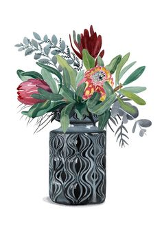Proteas and Natives in Grey Onion Vase Ed. 9 of 100 by Sally Browne. Protea Art, Watercolor Paintings, Original Paintings, Watercolour, Abstract Paintings, Art Paintings, Landscape Paintings, Scandinavian Wall Decor, Native Tattoos