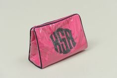 Custom Monogram Applique Cosmetic Bag By Talley Ho.  Available at https://www.delraymonograms.com/shop-18