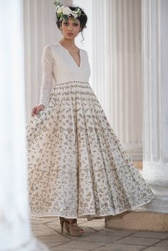 Indian Women Suits - White Angrakha Anarkali Suit with Silver Embroidery on the Ghera | WedMeGood #wedmegood #indianwedding #indianbride #anarkali #angrakha #white #fairy