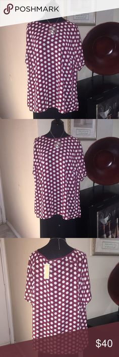 3X MICHAEL MICHAEL KORS Top NWT | Maroon with Ivory like Polk A Dots | Short Sleeve | Lightweight | 100% Polyester | 3X | Add'l 📸 upon request | 🚫 No Trade | 🚦Bundles and Offers Welcomed 🚦 MICHAEL Michael Kors Tops Blouses
