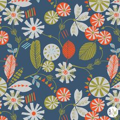 modern folk floral  surface pattern design by Bethan Janine  copyright © Bethan Janine Westran 2012