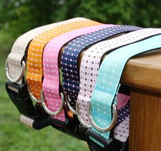 1 Adjustable Polka Dot Dog Collars by TessTreasure on Etsy
