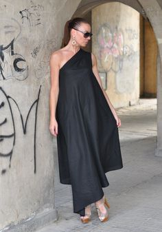 Black Kaftan Linen Dress with one sholder by by EUGfashion on Etsy