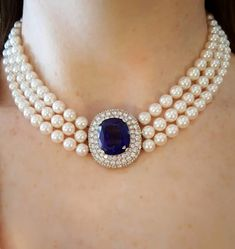 Shop diamond and pearl multi-strand necklaces and other antique and vintage necklaces from the world's best jewelry dealers. Pearl Necklace Designs, White Pearl Necklace, Pearl Jewelry, Bridal Jewelry, Beaded Jewelry, Jewelry Necklaces, Diamond Choker Necklace, Jewelry Sets, Gold Jewellery Design