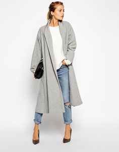 The Coat!!! Paired with ripped boyfriend jeans or dark skinny jeans and pumps