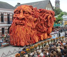 Giant Flower Sculptures At The World's Largest Flower Parade In The Netherlands.