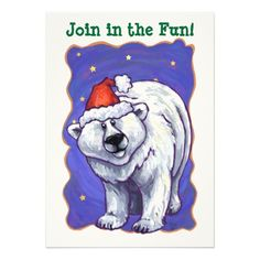 Festive Polar Bear Christmas Personalized Invitations designed by Animal Parade are a great way to invite your friends and family to your holiday party.