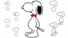 Как нарисовать пса Снупи из мультика «Peanuts»