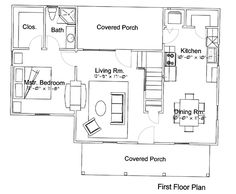First Floor Plan of Cabin   House Plan 62402