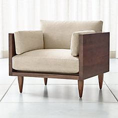 Sherwood Exposed Wood Frame Chair at Crate and Barrel Canada. Discover unique furniture and decor from across the globe to create a look you love. Unique Furniture, Custom Furniture, Furniture Design, Sofa Design, Salons Cosy, Sofa Frame, Wood Sofa, Chair Makeover, Exposed Wood