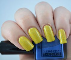 Macaw March over Canary Cavalcade, swatched by Polished Lifting
