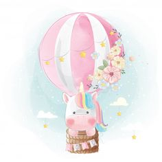 Rainbow unicorn flying with balloon Vector Premium Unicorn Art, Cute Unicorn, Rainbow Unicorn, Cute Animal Drawings, Cute Drawings, Cartoon Mignon, Unicornios Wallpaper, Unicorn Pictures, Cute Cartoon Wallpapers