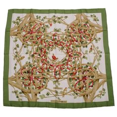 """Hermes Rare Vintage """"Sous Bois"""" Silk Twill Scarf  
