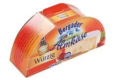 Käse-Einzelverpackung • Stabile und trotzdem hochwertig bedruckte Hülle für Käsestücke. • Verpackungsform gleicht einem halben Käselaib • Steckverschluss zum erneuten Verschließen nach dem Aufreißen , #Offsetdruck • #T4P, #Lebensmittelverpackungen, #Mopro Food Packaging, Products