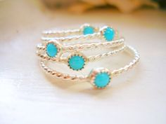 Turquoise Stacking Rings Set of Five Sterling Silver Dainty Twisted Rope Ring  - made to order in your finger size