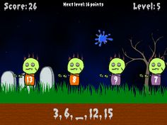Online skip counting games for kids that requires throwing a paint ball at zombies. Try to hit the zombie with the missing number from the pattern. Game Websites For Kids, Learning Games For Kids, Educational Games For Kids, Learning Resources, Math Patterns, Number Patterns, Skip Counting Games, Math Is Everywhere, Teacher Problems